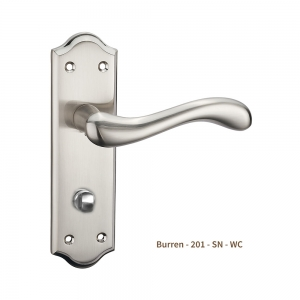 Burren Door Handle on Plate Satin Nickel Bathroom WC (Pair)