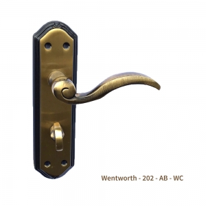 Florentina Bronze Wentworth style Door Handle on Plate Bathroom WC Carlisle Brass (Pair)