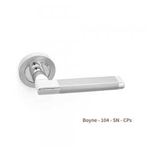 Boyne Door Handle on Rose Zinc Satin Nickel Chrome Pair