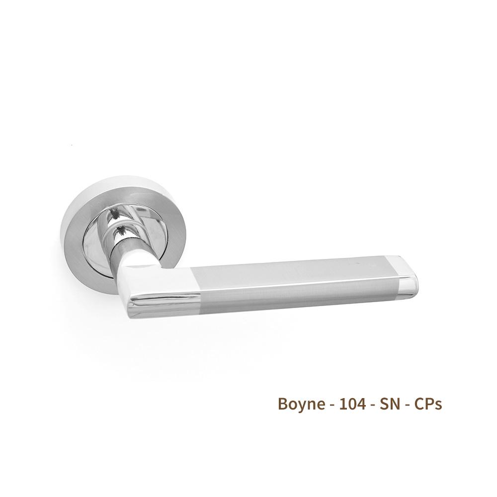Boyne Door Handle on Rose Satin Nickel/Chrome (Pair)
