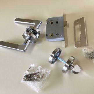Boyne Premium Quality Door Handle,Thumb Turn and lock Set Satin Nickel Chrome