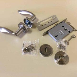 Arklow Premium Quality door Handle, escutcheon and Lock Set Satin Nickel