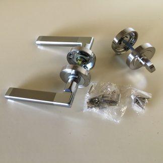 Boyne Premium Quality Door Handle and Thumb Turn Set Satin Nickel Chrome