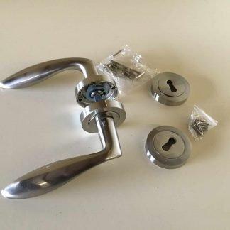 Arklow Premium Quality Door Handle and escutcheon Set Satin Nickel