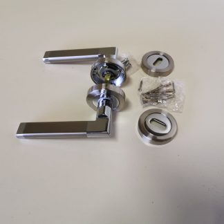 Boyne Premium Quality Door Handle and escutcheon Set Satin Nickel Chrome