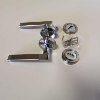 Boyne Premium Quality Door Handle and escutcheon Set Satin Nickel Chrome